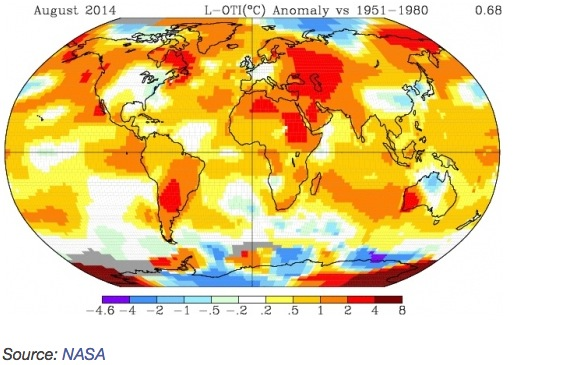 Temperature anomalies – in degrees Celsius – of various regions around the world in August 2014 , Source: NASA